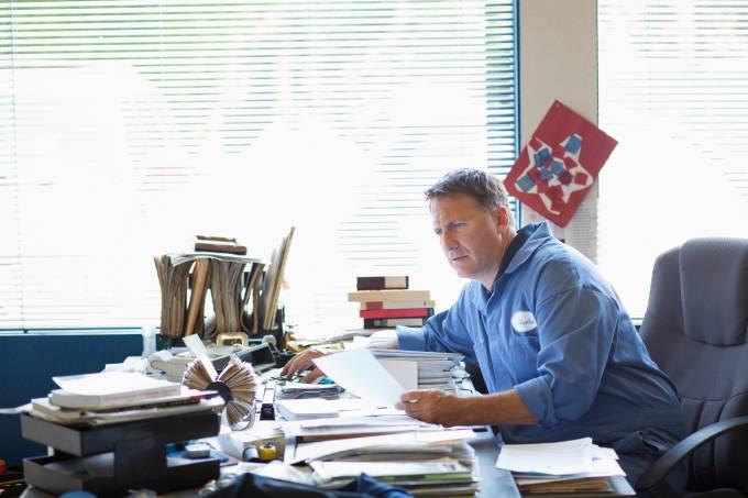 Caucasian man working at desk