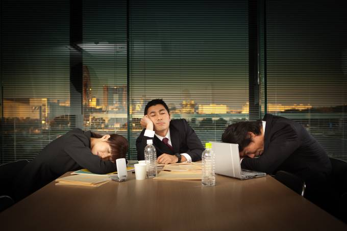 Exhausted Japanese Business Office Workers in Meeting Horizontal