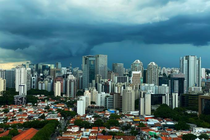 It rains in the city of Sao Paulo, Brazil.