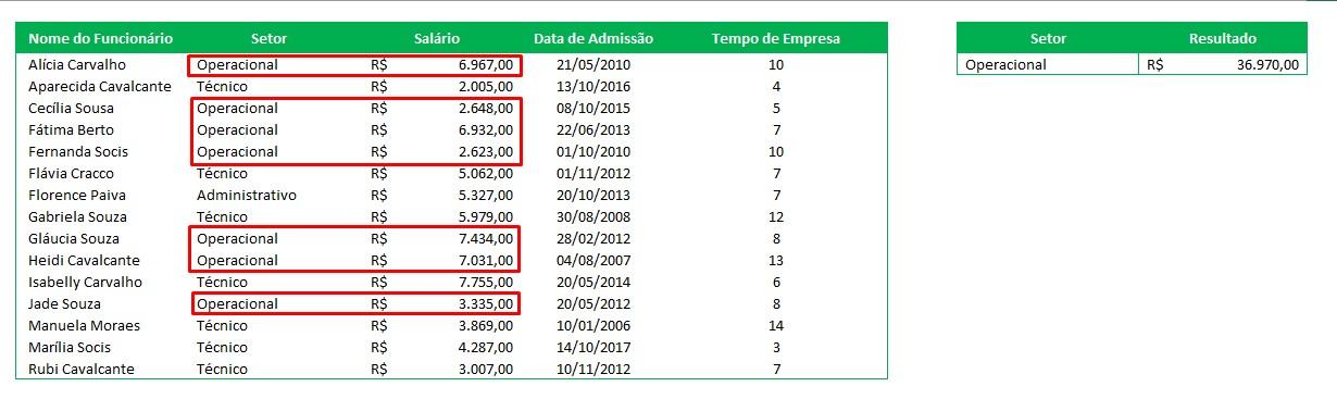 Planilha de Excel