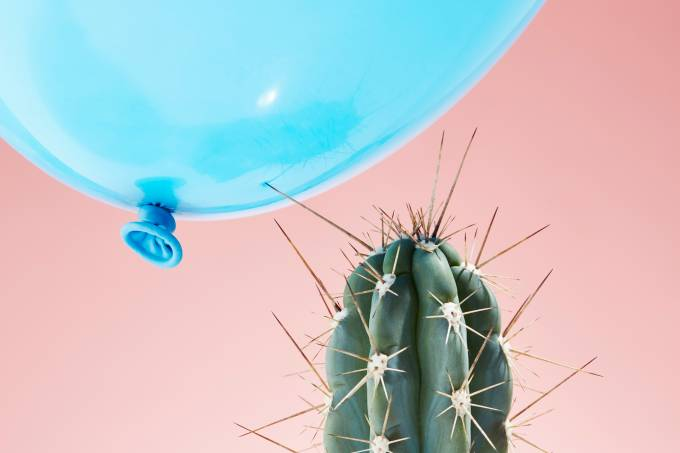 Balloon flying too close to cactus