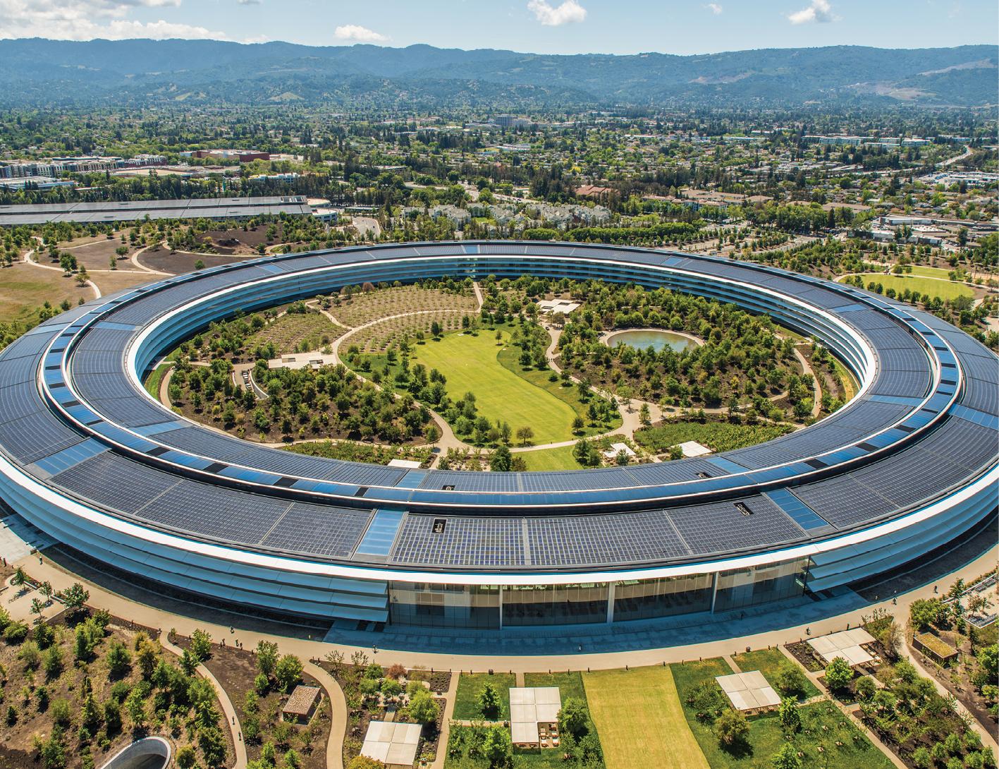 O Apple Park, sede da empresa, em Cupertino, Califórnia: área equivalente à de 70 campos de futebol, e 260 mil metros quadrados de área construída.